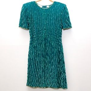 Lauren Kazar 80s Kelley Green Sequin Dress